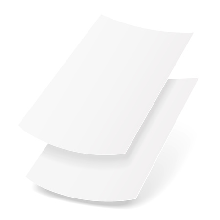 envelope: Two Blank Paper Leaflet, Flyer, Broadsheet, Flier, Follicle, Leaf A4 With Shadows. Illustration Isolated On White Background. Mock Up Template Ready For Your Design. Vector EPS10