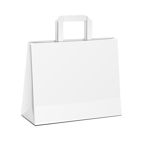 広いキャリア ペーパー バッグ ホワイト。白い背景で隔離の図。あなたのデザインのテンプレートの準備ができてのモックを作成します。製品梱包