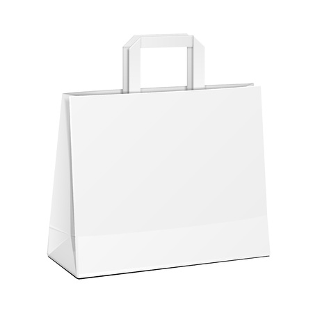 paper product: Wide Carrier Paper Bag White. Illustration Isolated On White Background. Mock Up Template Ready For Your Design. Product Packing Vector EPS10