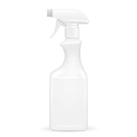 White Blank Spray Pistol Cleaner Plastic Bottle. Illustration Isolated On White Background. Mock Up Template Ready For Your Design. Vector EPS10 Banco de Imagens - 76868050