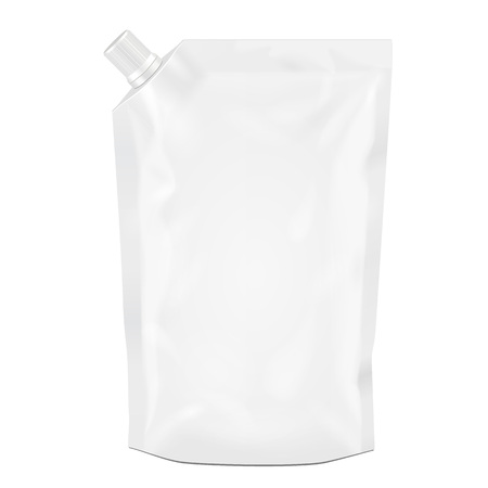 White Blank Doy Pack, Doypack Foil Food Or Drink Bag Packaging With Corner Spout Lid. Illustration Isolated On White Background. Mock Up Template Ready For Your Design. Product Packing Vector EPS10