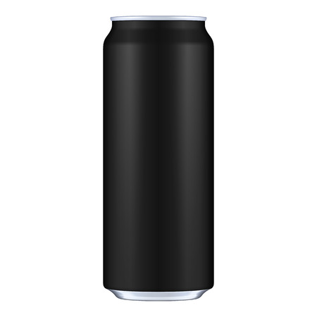 Black Metal Aluminum Beverage Drink Can 500ml. Mockup Template Ready For Your Design. Isolated On White Background. Product Packing. Vector EPS10 Product Packing Vector EPS10 Illusztráció