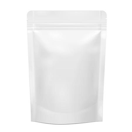 Białe puste folie Food Doy Pack Stand Up Torba na torbę Opakowanie Z Zipper. Ilustracja Samodzielnie Na Białym Tle. Mock Up, szablon mockup gotowy do wzornictwa. Wektor EPS10 Ilustracje wektorowe