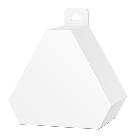 White Cardboard Hexagon Triangle Carry Box Bag Packaging With Hang Slot For Food, Gift Or Other Products. On White Background Isolated. Ready For Your Design. Product Packing Vector EPS10