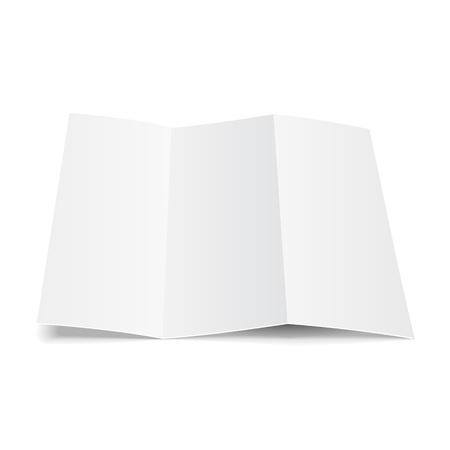 Blank Trifold Paper Leaflet, Flyer, Broadsheet, Flier, Follicle, Leaf A4 With Shadows. On White Background Isolated. Mock Up Template Ready For Your Design. Vector EPS10