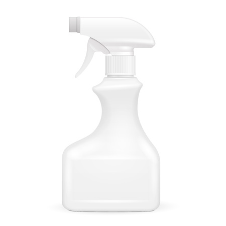 White Blank Spray Pistol Cleaner Plastic Bottle. Illustration Isolated On White Background. Mock Up Template Ready For Your Design. Vector EPS10