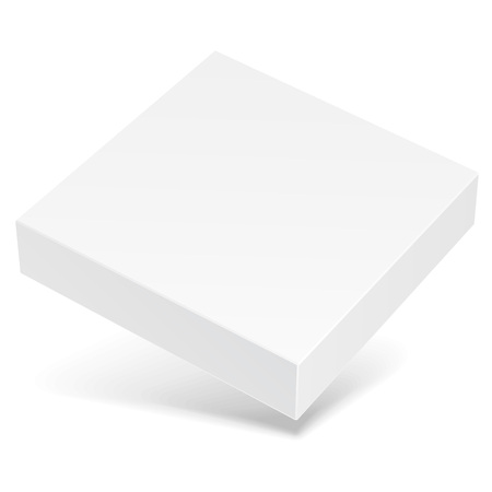 White Flying Product Cardboard Package Box With Shadow. Illustration Isolated On White Background.