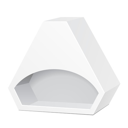 White Die Cut Box Cardboard Hexagon Triangle Carry Box Bag Packaging With Window For Food, Gift Or Other Products.