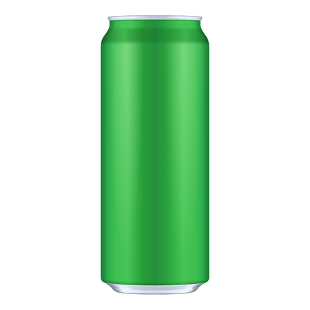 Green Metal Aluminum Beverage Drink Can 500ml. Mockup Template Ready For Your Design. Isolated On White Background.