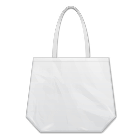 Textile Fabric Cotton Handbag Eco Plastic Bag Package White Grayscale. Illustration Isolated On White Background.