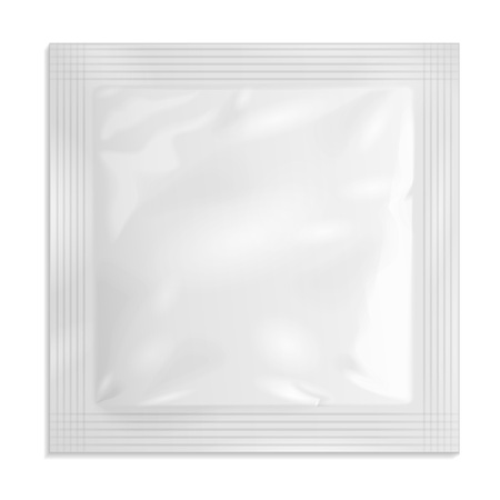 White Blank Retort Foil Pouch Packaging Medicine Drugs Or Coffee, Salt, Sugar, Sachet, Sweets Or Condom. Illusztráció