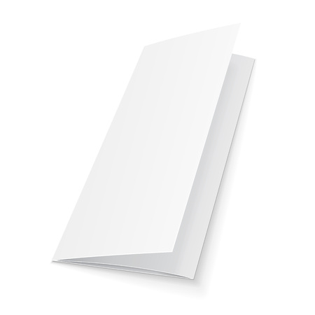 Blank Trifold Paper Leaflet, Flyer, Broadsheet, Flier, Follicle, Leaf A4 With Shadows.