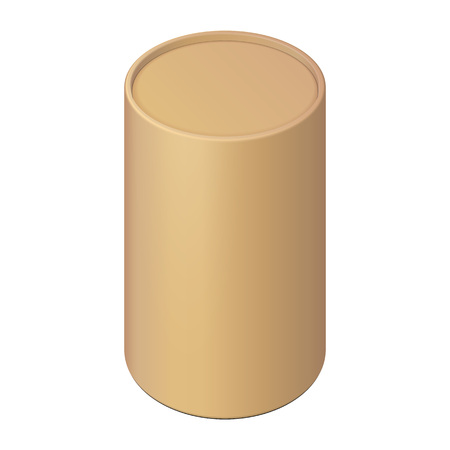 Brown Cardboard Paper Tube Cilinder Box Container Packaging. Food, Gift Products.