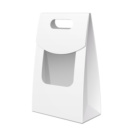 White Cardboard Carry Box Bag Packaging With Window And Handle For Food, Gift Products.