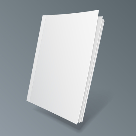 Blank Flying Cover Of Magazine, Book, Booklet, Brochure. Illustration Isolated On Gray Background. Illusztráció