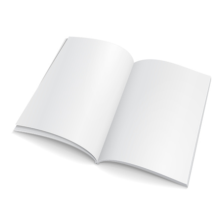 Blank Open Magazine, Book, Booklet, Brochure, Cover. Illustration Isolated On White Background. Illusztráció
