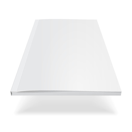 Blank Flying Cover Of Magazine, Book, Booklet, Brochure. Illustration Isolated On White Background.