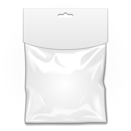 White Blank Plastic Pocket Bag. Transparent. With Hang Slot. Illustration Isolated On White Background.