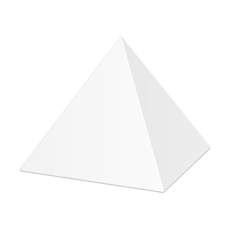 White Cardboard Pyramid Triangle Box Packaging For Food, Gift Or Other Products.