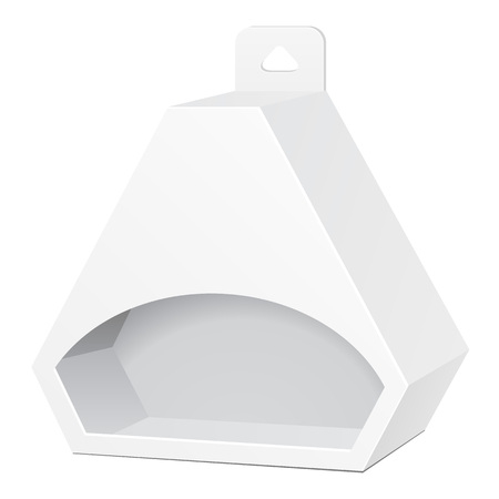 White Cardboard Hexagon Triangle Carry Box Bag Packaging With Hang Slot For Food, Gift Or Other Products. Illusztráció