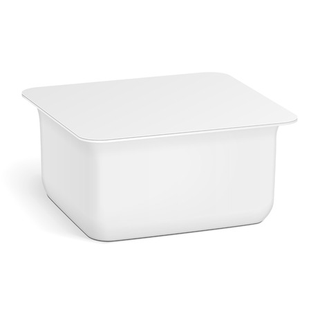 White Empty Blank polystyrene foam Plastic Food Tray Container Box.