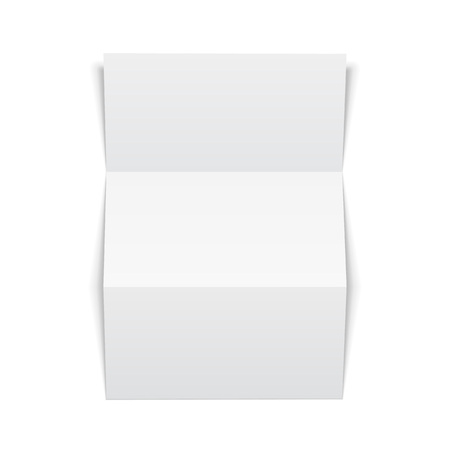 Blank Trifold Paper Leaflet On White Background Isolated. Mock Up Template Ready For Your Design. Vector EPS10 Illusztráció