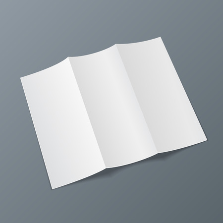 Blank Trifold Paper Leaflet, Flyer, Broadsheet, Flier, Follicle, Leaf A4 With Shadows. Illustration On Gray Background Isolated. Mock Up Template Ready For Your Design. Vector EPS10