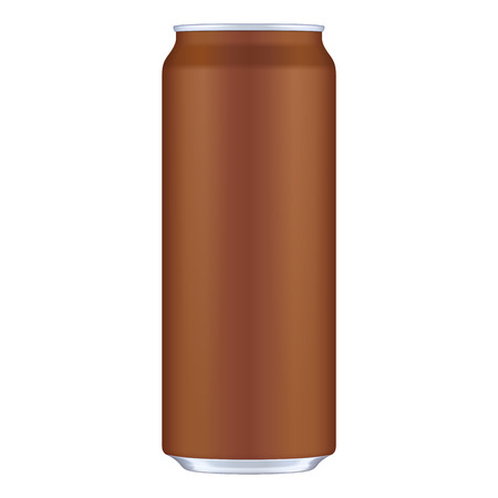Brown Chocolate Metal Aluminum Beverage Drink Can 500ml. Mockup Template Ready For Your Design. Illustration Isolated On White Background. Product Packing. Vector EPS10
