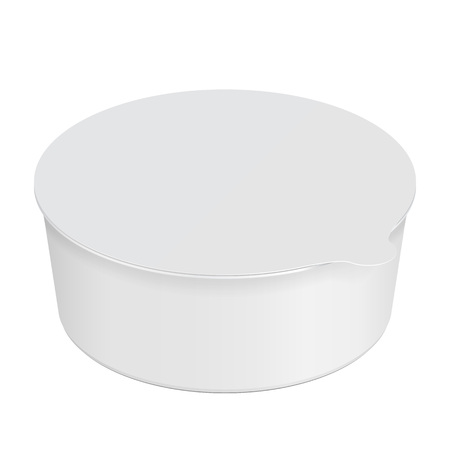 White Round Empty Blank Styrofoam Plastic Food Tray. Illustration Isolated On White Background. Mock Up Template Ready For Your Design. Vector EPS10