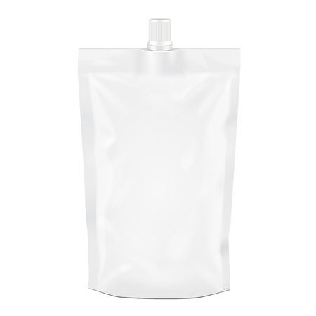 White Blank Doy-pack, Doypack Foil Food Or Drink Bag Packaging With Spout Lid. Illustration Isolated On White Background. Mock Up Template Ready For Your Design. Product Packing. Vector EPS10
