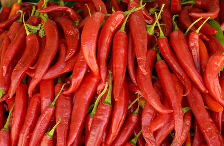 market stall: Red chilli on a market stall