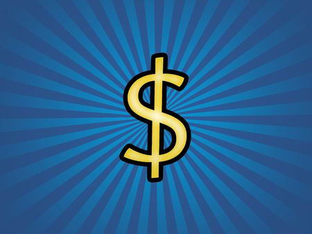 Dollar symbol with blue retro background photo