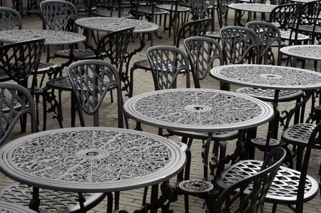Empty parisian terrace