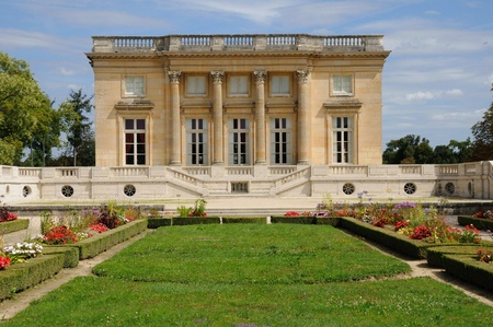 Le Petit Trianon in the park of Versailles Palace Stock Photo