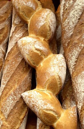 French breads in a bakery photo
