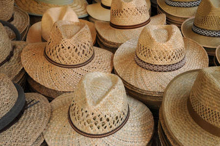 boater: stall of French hats on the market  Stock Photo