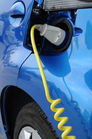 close-up van het opladen van de batterij van een elektrische auto Stockfoto