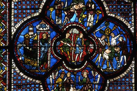 glasswork: stained glass window of Chartres cathedral
