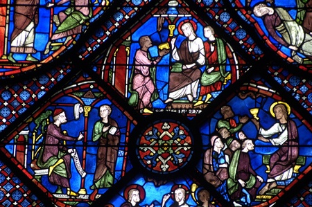 chartres: stained glass window of Chartres cathedral