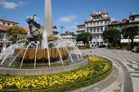square in the city of Guimaraes in Portugal 報道画像