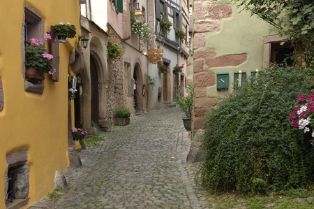 France, the small village of Riquewihr in Alsace Stock Photo