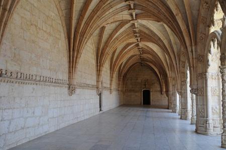 Portugal, cloister of Jeronimos monastery in Lisbon
