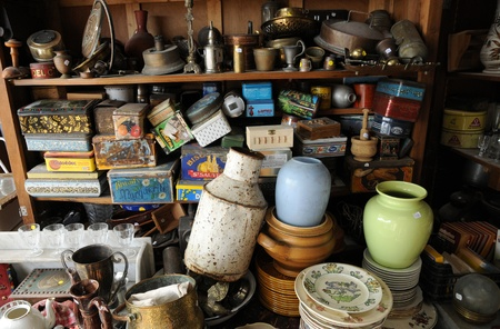 flea market: old objects on a flea market Editorial