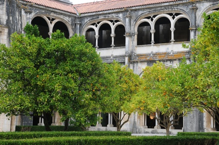 cloister: the cloister of Alcobaca monastery in Portugal