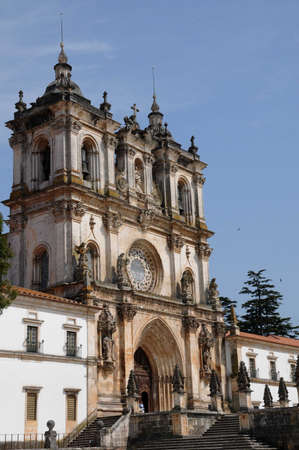 ade: the façade of Alcobaca monastery in Portugal