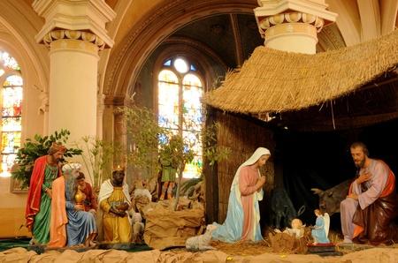 Frankrijk, kerststal in Triel-sur-Seine kerk