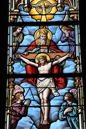 sur: France, stained glass window of Batz sur Mer church