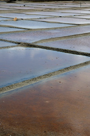 watershed: France, the salt evaporation pond in Guerande Stock Photo