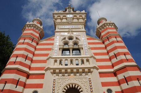 herbe: France, the facade of La Chapelle Algerienne in l Herbe Stock Photo