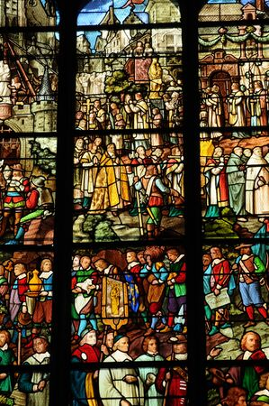 pontoise: France, stained glass window in the cathedral of Pontoise